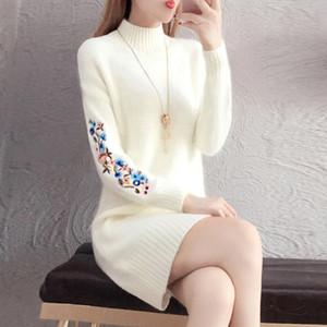 TYJTJY Faldas Mujer Moda 2019 otoño y de los vestidos de moda de invierno de Descuento Vestido de tejido imitación vestir de manga larga caliente