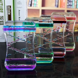Two-color slide oil drop decompression liquid hourglass dynamic oil leak table decoration gift toy