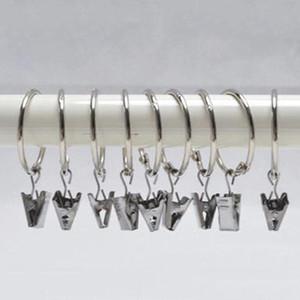 Anillos de cortina de la galjanoplastia Clip Ducha Baño Anillos de cortina Clip Fácil Glide Hooks Clips de barra de cortina Inicio Cortinas Accesorios 2.5 cm DH0906