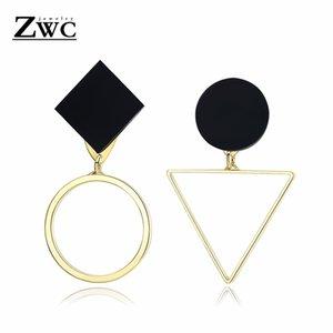 ZWC Moda Kadınlar için Geometrik Altın Gümüş Asimetrik Saplama Küpe Düğün Charm Üçgen Yuvarlak Akrilik Küpe Takı Hediye