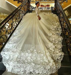 Gorgeous Long Sleeves Ball Gown Wedding Dresses Long Train Sheer Crew Neck 3D Floral Appliques 2021 Plus Size Vintage Bridal Gowns