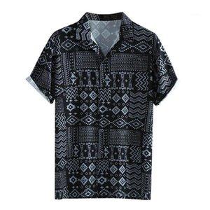 Feuille Lapel Imprimer manches courtes en coton de haute qualité Casual shirt Été Automne Nouveau Hommes Chemises Top Chemisier Mode Hommes Chemises Designer