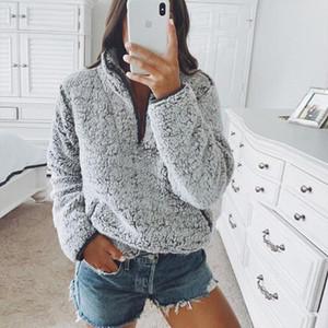 Femmes Duzeala Automne Hiver Sweat-shirt à manches longues de la mode New Sweatshirts Shaggy Casual douce et chaude Hauts Pulls à capuche Fuzzy