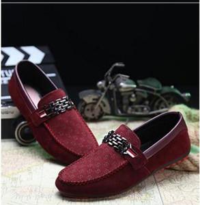 Pisos de lujo libre del diseñador del Mens Casual zapatos de vestir de cuero de gamuza zapatos de hebilla de metal de boda de la manera zapatilla de deporte de los zapatos de los hombres de grandes mocasines tamaño