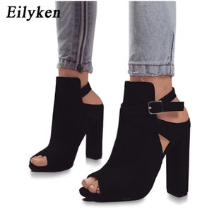 Eilyken Femmes Sandales Gladiator Talons Aiguilles Strap Pumps Boucle Strap Shoes Mode Dames D'été Chaussures Noir taille 35-42