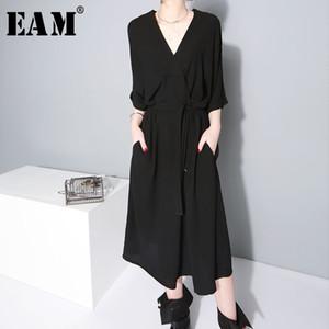 [EAM] 2019 새로운 봄 겨울 V- 칼라 반 슬리브 Bandgae 느슨한 기질 느슨한 큰 크기시 폰 드레스 여성 패션 JF733 Y190117