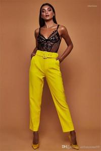 Para mujer Pantalones de traje con los marcos rectos Capris altura de la cintura de la manera caliente pantalones caramelo colores sólidos