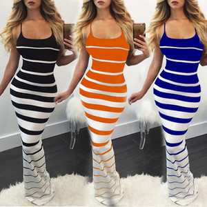 New Fashion Women Summer Sexy Striped Slim Long Dress Elegant Off Shoulder Bandage Bodycon Evening Party Cocktail Maxi Dress Skinny Gown