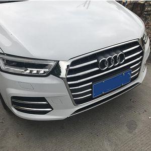 Хром ABS передний бампер воздуха решетка гриль украшения крышки отделки для Audi Q3 2016-2018 автомобилей передние противотуманные фары полосы