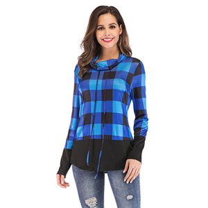 S-5XL Patchwork Long Sleeve Top Fashion Camisa Xadrez Tether manga comprida Pullover Pilha Collar T camisa macia respirável Shirts BC BH1172