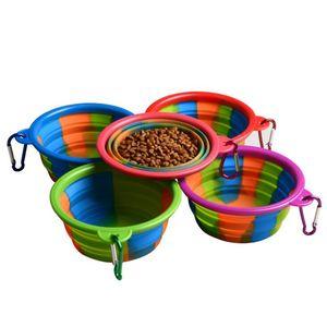 위장 애완 동물 그릇 카라비너 휴대용 여행 음식 물로 9 개 색상 실리콘 접을 수있는 접이식 강아지 그릇 그릇 OOA7049-1 먹이