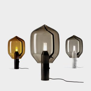mármol creativa salón lámpara de estudio de vidrio dormitorio arte lámpara de mesa de noche escritorio de cristal LED posmoderna