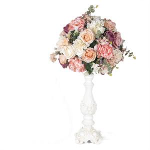 Simulazione 30 / 40cm Rose Hydrangea Hemisphere Fiori di seta artificiali Decorazione di cerimonia nuziale Sfera di fiore Colonna romana Home Decor per feste Flores