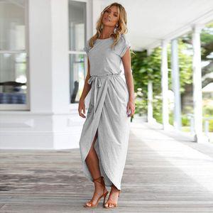 women clothes fashion Spring summer women dress autumn Short sleeve Front split dresses bodycon dress maxi dresses skirt drop ship