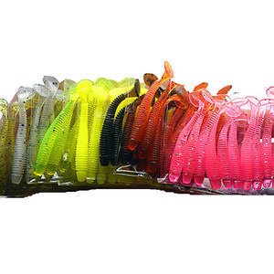 10 colori 100 pz / lotto 5 cm 0.7g Esche Da Pesca In Gomma Morbida Esche Jig Wobbler Morbido Verme Carpa Esca Da Pesca Silicone Artificiale Swimbait