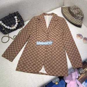 Diseño de lujo de lona de algodón de la vendimia capa de la chaqueta Blazer con la letra de la Mujer calidad de tops de las muchachas de pista Casual Tops Outwear la camisa del juego