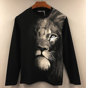 Undershirt Sports Men Casual Lion Luxury Print New Long 3D T-Shirt Designer Women Sleeve T-Shirt Cotton Student Black Brand Men Dress Vucdq