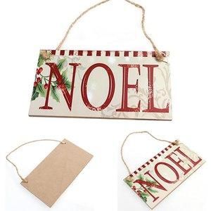 Decorazioni di Natale Articoli per feste NOEL legno inglese Word Listing Rettangolo Segno d'attaccatura della parete che spedice la decorazione di goccia