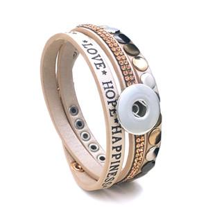 Fashion Multi-turn Love Hope Bangle 139 PU Leather 18mm 12mm Snap Button Bracelet Gioielli intercambiabili per regalo donna