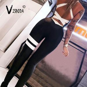 Les femmes sexy moulante Jumpsuit Fitness élastique Bandage dos nu Mode Femme Bodysuit rayé noir Workout Push Up Jumpsuit