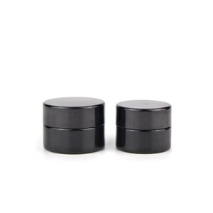 Non Stick 5ml Cosmetic Cream Black Glass Jar with Classic Screw Top Empty Jars Concentrate Container DHL Free