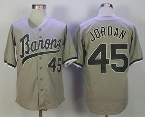 Rabatt MICHAEL Jodan 45 BIRMINGHAM BARONS Baseball Trikots Weiß Grau Genähte Film MICHAEL Birmingham Barons Retro Baseball Shirt