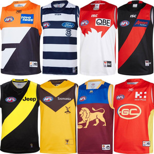 2019 gatos AFL jérsei Geelong Bombers Gold Coast Essendon Adelaide Crows Collingwood águias costa oeste GUERNSEY Rugby Jerseys League singlet