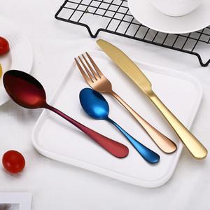4pcs set Stainless Steel Stableware Set Knife Fork Spoon Set Flatware Sets Gold Rainbow forks Drop Ship