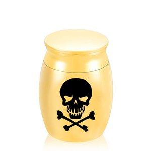 Crânio Importante Padrão Artigo Denominação Mini Memorial Caixão Jóias Funeral urna de cremação para Humano / Pet Ashes30x40mm