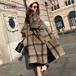 CamKemsey 2019 Nouveau Femmes Hiver chaud manteau cachemire dames travail de bureau élégant Vintage Plaid Long Laine Manteaux Y191102