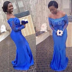 Vintage African Long Mermaid Bridesmaid Dress 2020 Royal Blue Sheer Neck дешевые платья подружки невесты с длинным рукавом свадебные платья для гостей