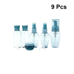 Venta al por mayor 9 piezas botella de viaje de dispensación portátil botellas de bomba de aerosol de protección solar botella reutilizable de aerosol vacío para viaje de viaje azul