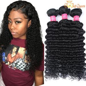 8A Bundles de cheveux vierges brésiliens de vague profonde 4pcs / lot 100% Bundles de cheveux brésiliens de vague profonde bouclés vierge