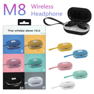M8 TWS ستيريو صحيح يدوي لاسلكي ميكروفون سماعات الرياضة سماعات متعددة الألوان سماعة بلوتوث لاسلكية متعددة الألوان مع فرض حالة إعادة