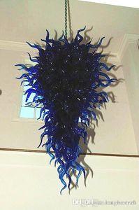 Modern azul cobalto de vidro de borosilicato LED Luminária Mão Blown Art Glass Chandelier Iluminação Início Lobby Bar Lustres -Girban