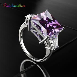 Rainbamabom 925 Katı Gümüş Huge Ametist Taş Birthstone Düğün Nişan elmas yüzüğü Takı Hediyeler Toptan