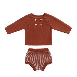 3M-2Y Knocked Baby Clothes Outumn Winter Baby Girl Clothes Set Woolen Cotton Infant Cardigan + Shorts Clots