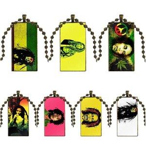 En Ünlü Şarkıcı Bob Marley Reggae İçin Kadınlar Hediyeler Boy Cam Cabochon gerdanlık kolye Dikdörtgen kolye Bronz Renk Takı