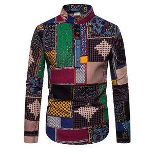 Новый Стиль T Shirt Men Casual Кардиган Кнопка Длинные рукава Цветочные перо печать похудения Блуза Европа Тип Популярная весна Tee Shirt