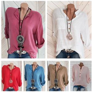 Плюс Размер Женская футболка Половина рукавом V-образным вырезом Толстовка Блуза весна лето ТЕННИСКА пуловер Мода льняные рубашки Блузы женские Top Одежда