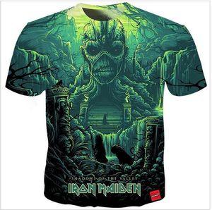 Lüks Erkek Tasarımcı T Shirt Erkekler Kadınlar Hip Hop Tişörtlü Iron Maiden Tasarımcı Gömlek XK047 yazdır 3D