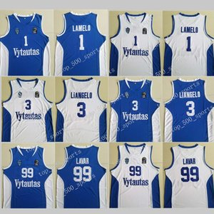 Hommes Lituanie Vytautas Prienu Basketball Shirt 1 LaMelo ball Jersey 3 LiAngelo Boule Uniforme 99 LaVar ball Tous Cousu bonne équipe Bleu Blanc