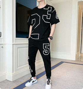 Men's Exercise & Fitness Clothing Fashion Mens Casual T-Shirt + Long Pants Two-piece Suit Male Print Active Thin Tracksuits Size M-4XL