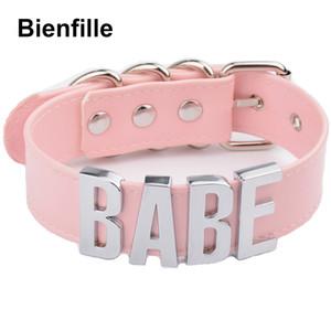 Pink Bdsm Fetish Bondage Collar Collar Cosplay Harajuku Gothic Babe Gargantilla 100% Plata Hecha a mano Nombre de la palabra Gargantilla Mujeres Y19050802