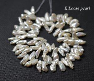 Keshi perla 6-7.5mm lato dente perla forato bianco da sposa di design nuziale d'acqua dolce Keshi allentato collana di perle filo pieno PL4359