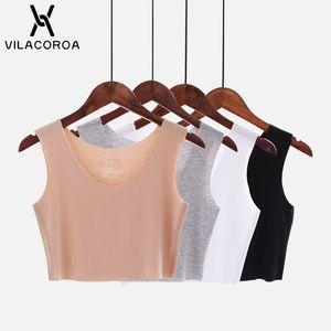 Vilacoroa confortable U Neck Crop Tops Coton base Femme Top T-shirts Chemises d'été Avslappnad Slim T-shirts manches Hauts Tanktop