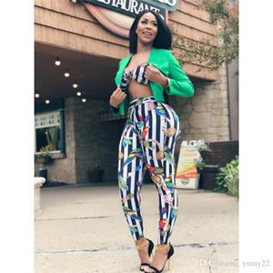 Verão 2pcs Designer Pants Mulheres Striped Set Impresso Moda de alças Magro Macacão