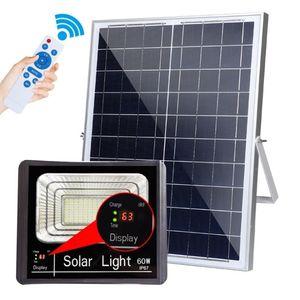 Lampe à énergie solaire d'extérieur LED 10W 25W 40W 60W 120W Projecteurs solaires à LED Waterporof IP67 LED Lampe de mur de jardin inondé avec affichage de charge