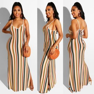 Women's Strappy Backless Summer Casual Sexy Summer Stripe Print Bodycon Long Maxi Dresses Side Split Sleeveless Evening Party Sundresses