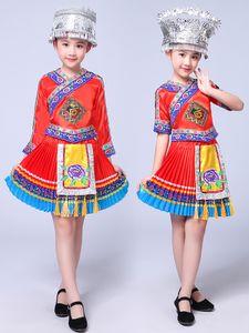 Chinesisches Volkstanzkostüm Kinder Hmong Chinesische nationale Traditionen Tanzanzug Mädchen Miao Kostüm Bühnenbekleidung Leistung